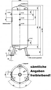 Druckluftbehälter verzinkt, 90 ltr., 11 bar, stehend