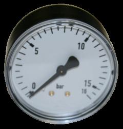 "Manometer 0-16 bar, 1/4"" Anschluß hinten 50 mm Durchm."
