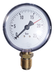 """Manometer 0-25 bar, 1/2"""" Anschluß unten, 80 mm Durchm."""