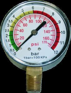 "Manometer für Reifenfüller 0-12 bar, 1/4"" Anschluss unten"